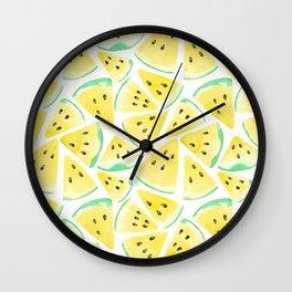 Yellow watermelon slices pattern Wall Clock