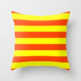 Bright Neon Orange and Yellow Horizontal Cabana Tent Stripes Throw Pillow