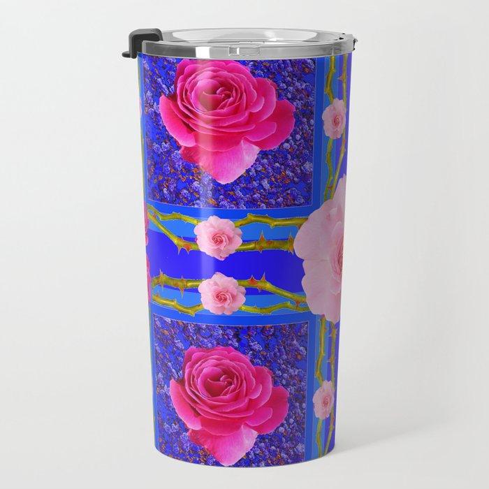BLUE  GEOMETRIC ART CERISE & PINK FUCHSIA ROSES Travel Mug