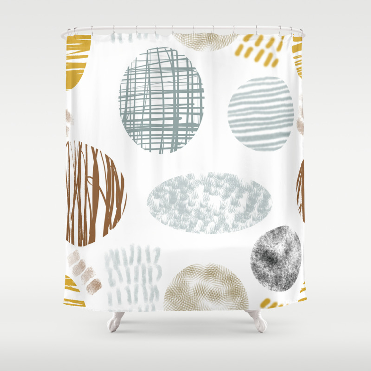 Organic Shape Family Shower Curtain