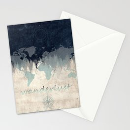 world map wanderlust forest 2 Stationery Cards