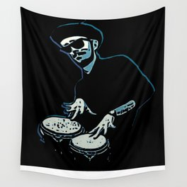 Bongo Beatin' Beatnik (Blue) Wall Tapestry