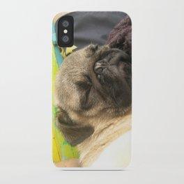 Cute Pug Sleeping - hard day at the beach iPhone Case