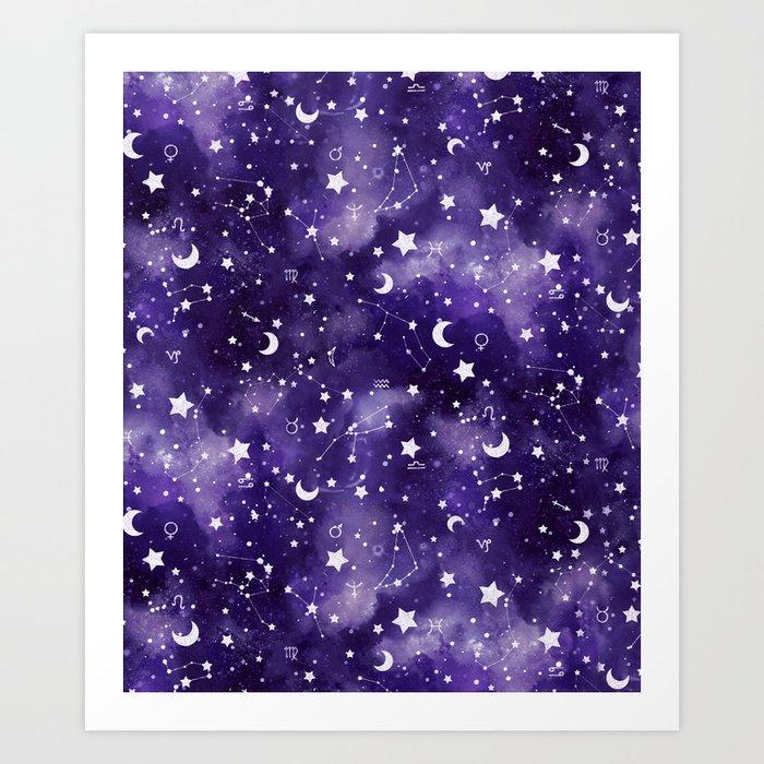 Zodiac Watercolor Ultraviolet Kunstdrucke