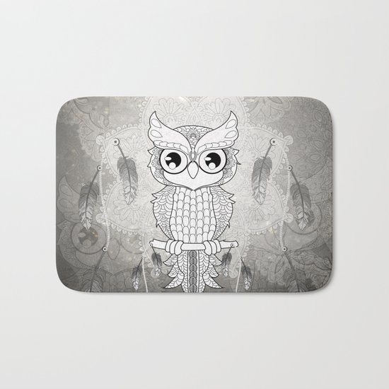 Cute owl in black and white Bath Mat