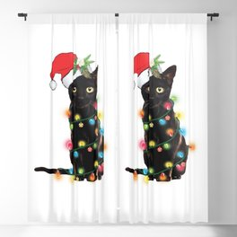 Funny christmas cat Blackout Curtain