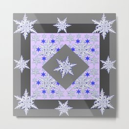 DECORATIVE GREY SNOW CRYSTALS  WINTER ART Metal Print