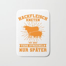KNEADING MINCED MEAT Funny Butcher Gift For Chef Bath Mat