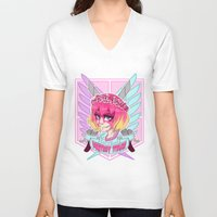 teen titans V-neck T-shirts featuring DESTROY TITANS by CLUB GALAXY