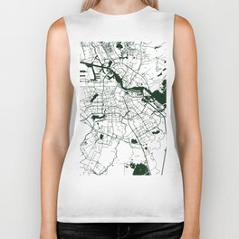 Amsterdam White on Green Street Map Biker Tank