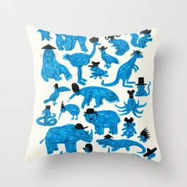 Blue Animals Black Hats Throw Pillow