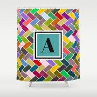 monogram Shower Curtains featuring  A Monogram by mailboxdisco