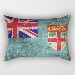 Vintage Aged and Scratched Fiji Flag Rectangular Pillow