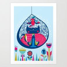 HUNGRY CAT & LITTLE BIRDIE Art Print