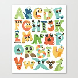 Cute monsters alphabet for boy's room monster alien critters illustrated characters Canvas Print