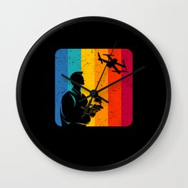 Drone Pilot Vintage Retro Drone Gifts Wall Clock