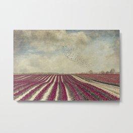 blooming - field of red tulips Metal Print