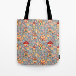 Houses in the magical forest. Folk Art. Tote Bag