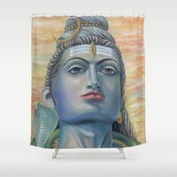 shiva Shower Curtains featuring Lord Shiva by Anastasia Fomina