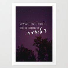 presence of wonder. Art Print