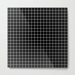 Black and White Geometric Grid Print Metal Print