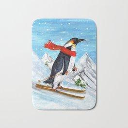 Penguin Alpine Skiing Bath Mat
