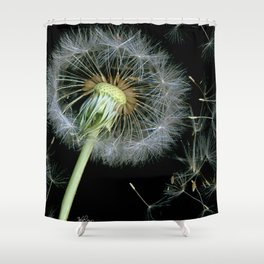 Dandelion Seeds Blowing in the Wind, Scanography Shower Curtain