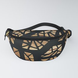 Geometric Lace Drawing on Wood Background Fanny Pack