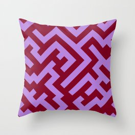 Lavender Violet and Burgundy Red Diagonal Labyrinth Throw Pillow