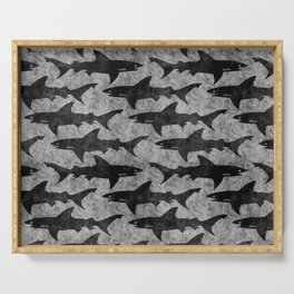 Gray and Black Shark Pattern Serving Tray