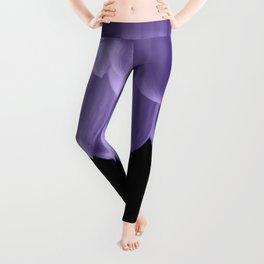 Ultra violet purple flower petals black Leggings