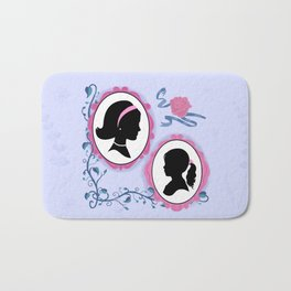 Vintage Look Fairytale Mother And Daughter Silhouette Portraits Bath Mat