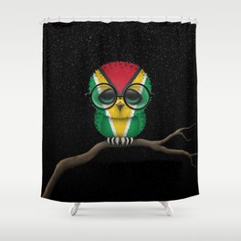 Baby Owl with Glasses and Guyanese Flag Shower Curtain