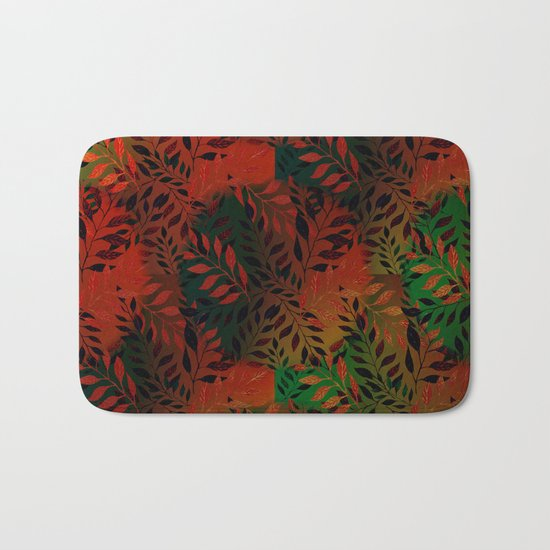 Abstract Leaf Arrangement (African Colors) Bath Mat