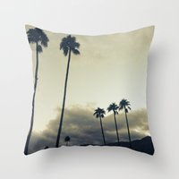 palm Throw Pillows featuring palm by cOnNymArshAuS
