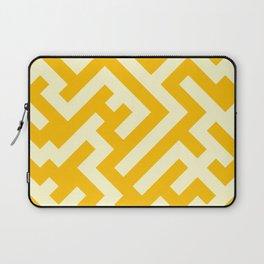 Cream Yellow and Amber Orange Diagonal Labyrinth Laptop Sleeve