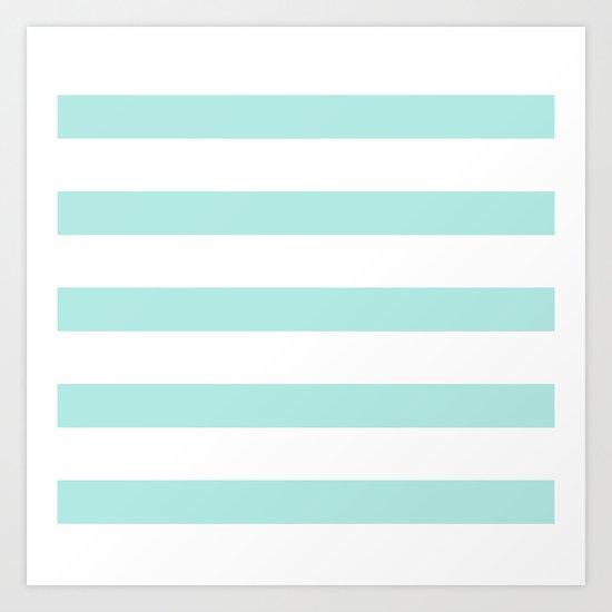Aqua blue and White stripes lines - horizontal on #Society6 Art Print