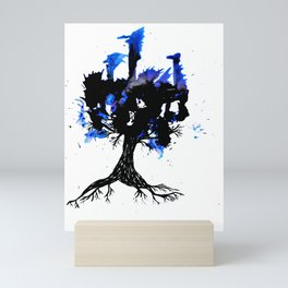 Blue splash tree Mini Art Print