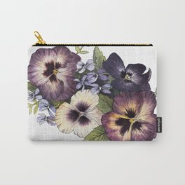Watercolor Pansy Bouquet Carry-All Pouch