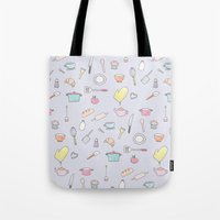 cooking Tote Bags featuring Cooking Pattern by Little Holly Berry