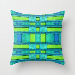 Painted blue and green parallel bars Throw Pillow