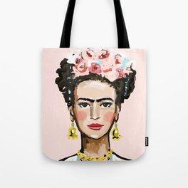 Frida on Soft Pink Tote Bag