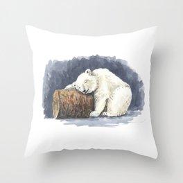 Sleeping polar bear, watercolor art Throw Pillow