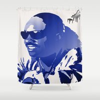 stevie nicks Shower Curtains featuring STEVIE WONDER by KEVIN CURTIS BARR'S ART OF FAMOUS FACES