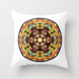 Metta Mandala White Throw Pillow