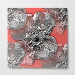 Greyscale transparent poppies on orange-pink-red background Metal Print