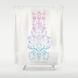 La Vie + La Mort: Rose Quartz & Serenity Ombré Shower Curtain