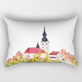 Slovenia Bled Lake pilgrimage church Rectangular Pillow