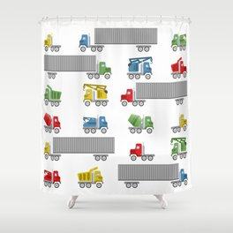 Trucks Childrens Room Decor Shower Curtain
