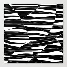 Carved Black and White Wave Canvas Print